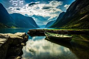 горы, лодка, озеро