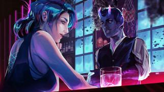 девушка, стакан, бармен