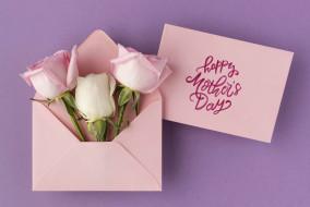 конверт, розы, надпись