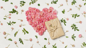 розы, лепестки, сердце, подарок
