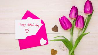 тюльпаны, конверт, надпись