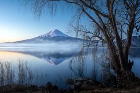 mount fuji, lake kawagushi, japan, природа, реки, озера, mount, fuji, lake, kawagushi