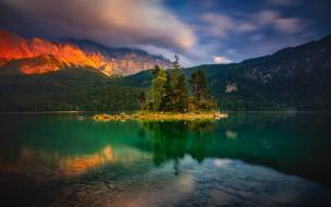 lake eibsee, alps, bavaria, germany, природа, реки, озера, lake, eibsee