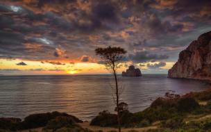 небо, тучи, закат, море, скалы, берег