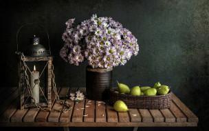 фонарь, груши, хризантемы