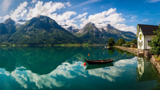 горы, озеро, лодка, отражение