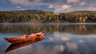 корабли, лодки,  шлюпки, лес, лодка, река