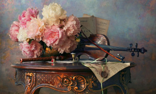 пионы, скрипка, ноты, флейта