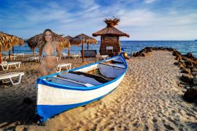 девушки, katya clover , катя скаредина, пляж, лодка, бикини