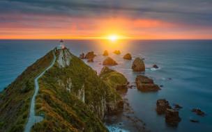 море, маяк, скалы, мыс, закат