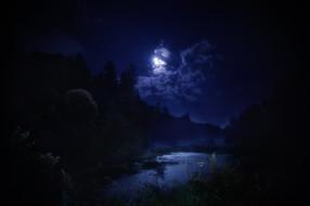 обои для рабочего стола 2048x1365 природа, пейзажи, ночь, красота, пейзаж, деревья, лес, вода, пруд, водоём, небо, облака, темнота, отражение