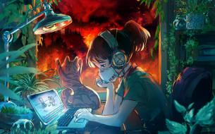 обои для рабочего стола 1920x1198 аниме, unknown,  другое , девочка, маска, кот, компьютер, пожар
