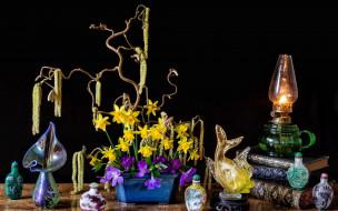 цветы, букеты,  композиции, лампа, нарциссы, букет