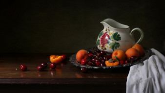 еда, фрукты,  ягоды, абрикосы, черешня