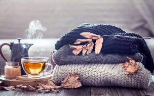 еда, напитки,  чай, свеча, чай, листья