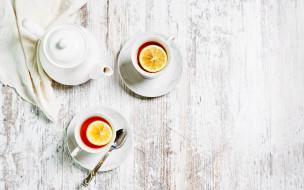 еда, напитки,  чай, чашки, чай, лимон