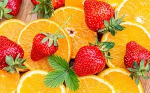 еда, фрукты,  ягоды, клубника, апельсины