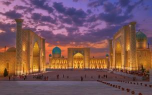 города, - исторические,  архитектурные памятники, cамарканд, узбекистан, древний, город, вечер, закат