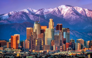 города, лос-анджелес , сша, горы, небоскребы, панорама