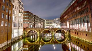 города, гамбург , германия, мост, вечер, огни
