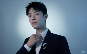 мужчины, xiao zhan, актер, пиджак, брошь