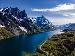 обои для рабочего стола 3840x2880 природа, реки, озера, горы, река, снег, небо, облако