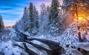 природа, зима, снег, река, лес, солнце