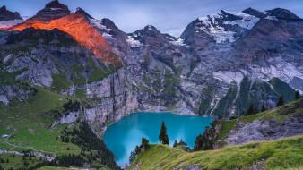 lake oeschinen, switzerland, природа, реки, озера, lake, oeschinen