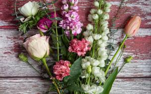 цветы, разные вместе, гвоздика, роза, тюльпан
