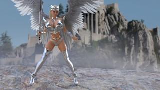 3д графика, ангел , angel, девушка, фон, латы, крылья, меч