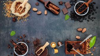 еда, кофе,  кофейные зёрна, молотый, зерна