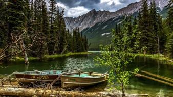 горы, заводь, лодки, река