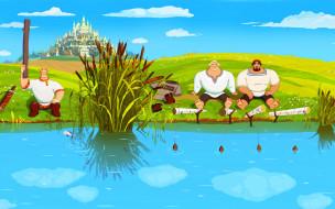 три богатыря и наследница престола, мультфильмы, богатыри, рыбалка, река, город
