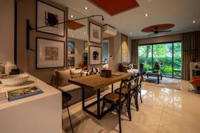 интерьер, столовая, стол, диван, стулья, картины