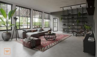 интерьер, гостиная, диван, окна, ковер, полки