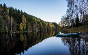река, лодка, лес