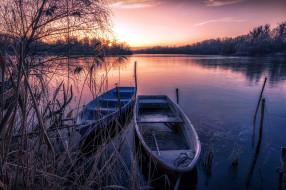 закат, лодки, река