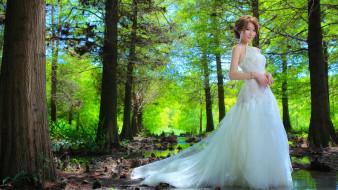 девушки, - азиатки, азиатка, невеста, лес