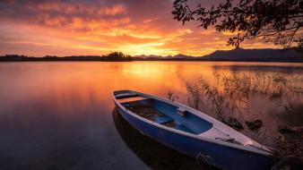 закат, лодка, озеро
