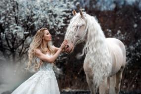 девушки, - невесты, невеста, свадебное, платье, блондинка, лошадь, marie, kruzikova