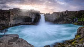 aldeyjarfoss waterfall, iceland, природа, водопады, aldeyjarfoss, waterfall