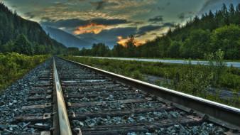 разное, транспортные средства и магистрали, железная, дорога, гравий, горы, закат