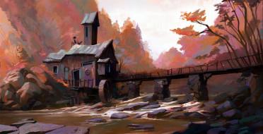 рисованное, города, девушка, домик, мельница, мост, поток, лес