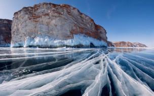 природа, айсберги и ледники, лед, озеро, скала, зима, байкал