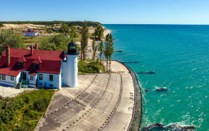 point betsie lighthouse, michigan, usa, природа, маяки, point, betsie, lighthouse