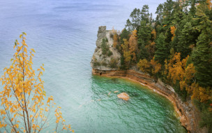pictured rocks national lakeshore, michigan, usa, природа, побережье, pictured, rocks, national, lakeshore