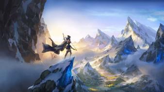 видео игры, league of legends, ashe, лучница, плащ, лук, горы