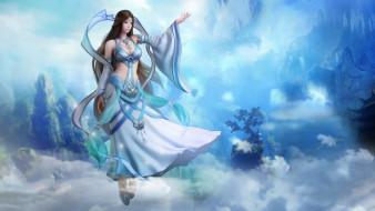 видео игры, perfect world,  total war, девушка, магия, облака