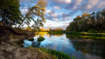 природа, реки, озера, облака, река, деревья
