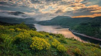 природа, реки, озера, горы, река, туман